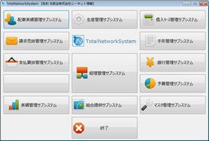 統合基幹業務ソフト「TotalNetworkSystem」ダッシュボード